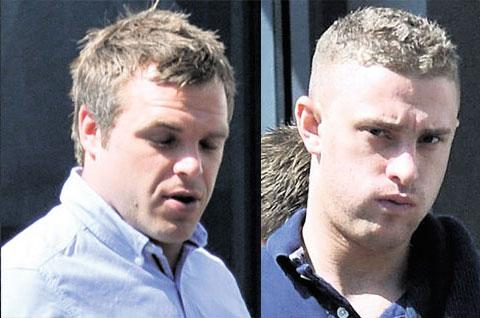 IN COURT: Richard Orzel, 29, of Newport, left, and James Rogers, 21, of Caldicot, who admitted putting 'corrosive' comments about a Muslim at prayer on Facebook