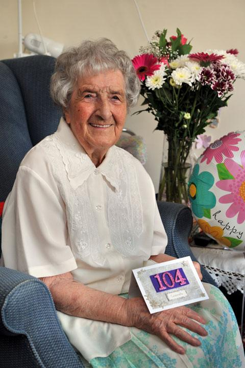 GRAND AGE: Violet Lawrence who celebrated her 104th birthday at  Abbeyfield Nursing Home, Caerleon
