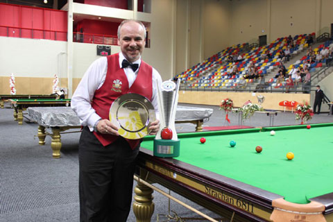 GREAT FORM: Darren Morgan with the European Masters trophy