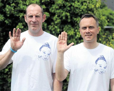 South Wales Argus: SHOWING SUPPORT: Cardiff City Captain Jeff Eckhardt, left, and For Luca United captain Simon Gibbs before the For Luca charity football match