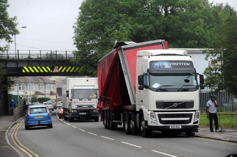COLLISION: The lorry which collided with a railway bridge on Cardiff Road