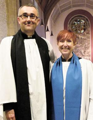 LICENSING: Linda Batt with Magor team rector the Rev Jeremy Harris