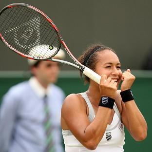 Heather Watson celebrates defeating USA's Jamie Lee Hampton during day three of the 2012 Wimbledon Championships