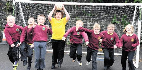 FOOTBALL TEAM: Sport plays an important part in the curriculum and after official hours at Blaentillery Primary School