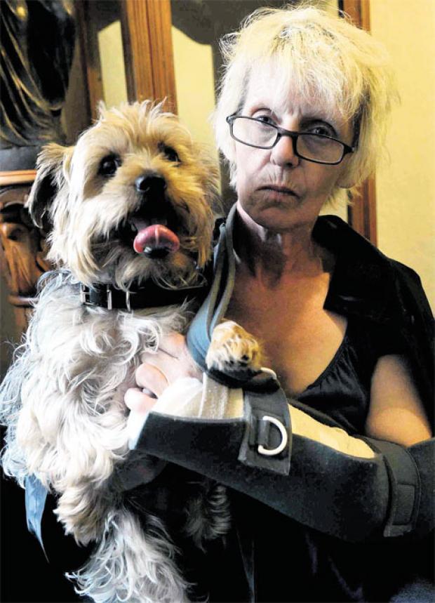 VICTIM: Injured Kay Piatek with her dog Alfie