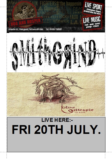 SMITHGRIND + BLUE GILLESPIE @ The Hog and Hosper