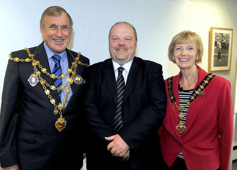 The Mayor and Mayoress of Newport John and Joyce Guy meet Argus editor Kevin Ward during their visit to the newspaper's offices in Newport