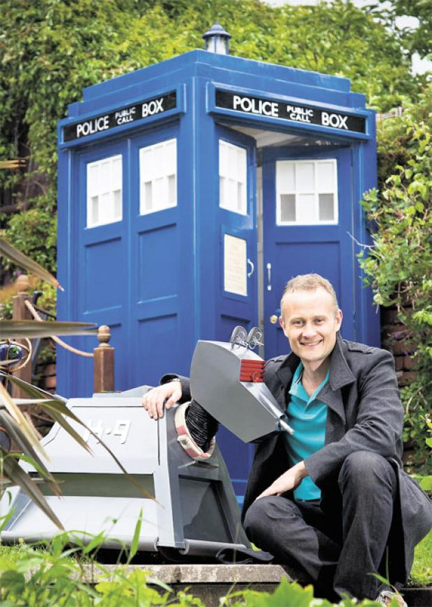 AWARD WINNING DESIGN: John Williams of Newport with his Tardis shed and of course his faithful companion K9