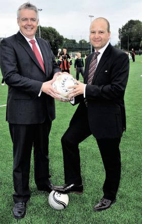 NEXT STAGE: First Minister Carwyn Jones was in Newport to announce the next stage of funding for the FAW project at Spytty when a new artificial pitch was officially opened. He was joined by FAW chief executive Jonathan Ford at the 3G pitch in Newport