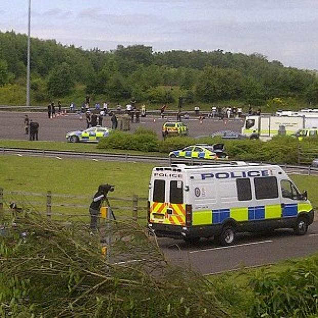 The scene at the M6 toll motorway in Staffordshire after it was shut following a 'police-led incident'