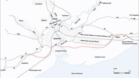 M4 PROPOSAL: The council's preferred option involves a £830 million new road, shown in red on the map
