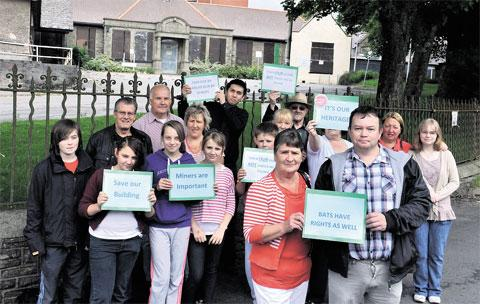 PROTEST: Campaigners protesting against the plan to demolish Blaina and District Hospital