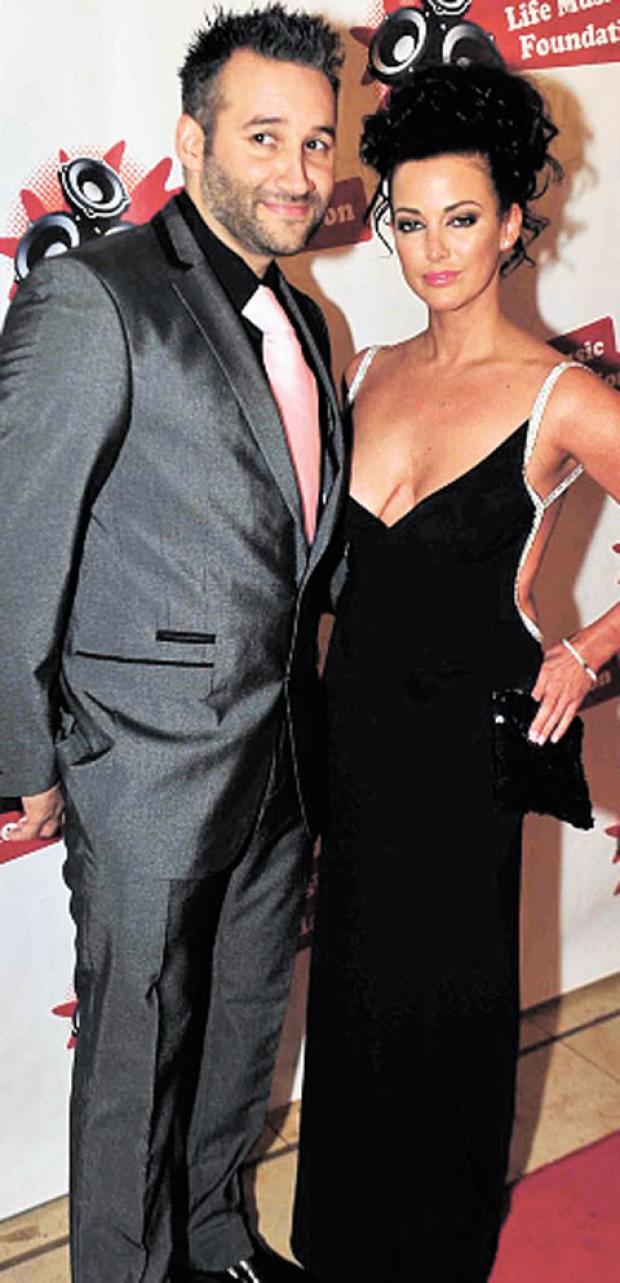 STARS SOCCER: DJ Dane Bowers with his girlfriend, former Miss Wales Sophia Cahill
