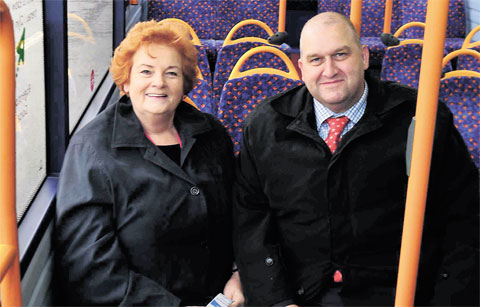 BUS LINK: AM Rosemary Butler and Wales transport minister Carl Sargeant yesterday