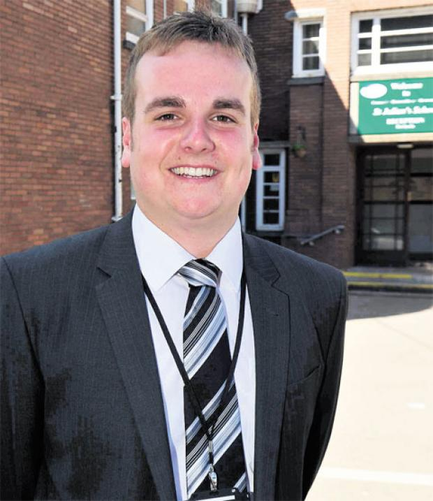 DELIGHTED: Ryan Owen, who is to stay on at St Julian's School, Newport, as events organiser