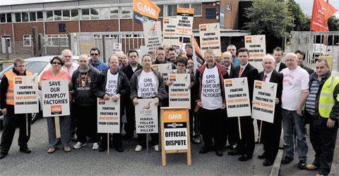 South Wales Argus: PROTEST: Workers, union officials and supporters outside the Remploy factory in Croespenmaen