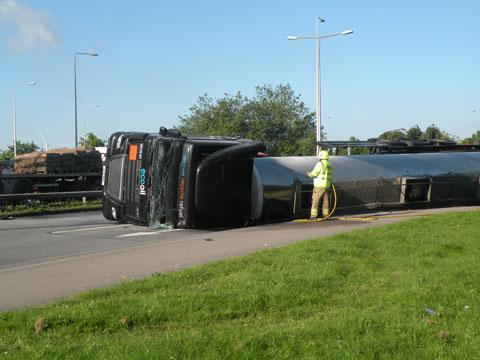 The overturned tanker on the SDR near Spytty Retail Park, Newport. Pic sent in by reader Michael Francis.