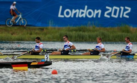 FAVOURITES FOR GOLD: Great Britain's lightweight four winning their semi-final yesterday. From left are Chris Bartley,  Richard Chambers, Rob Williams and Peter Chambers