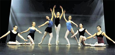 GRACEFUL: Advanced students from Ballet Cymru's summer school at the Riverfront, from left, Ciara Styles-Rouse, Carys Appleby, Natasha Trigg, Natasha Hancock, Aisling Brangan, Sabrina Sutton and Samantha Bosshardt