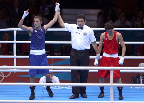 HE'S THROUGH: Andrew Selby celebrates victory over Ilyas Suelimenov tonight
