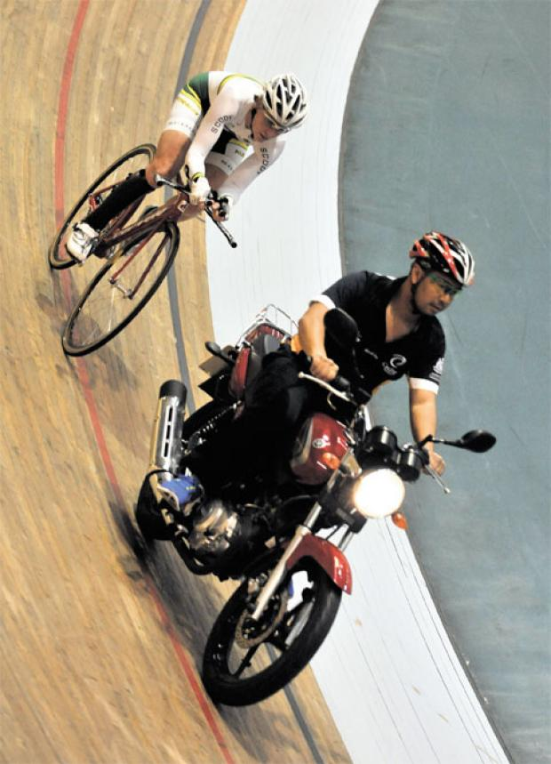 WORLD-CLASS: Australian cyclist Susan Powell practises at Wales National Velodrome in Newport for the forthcoming Paralympics in London