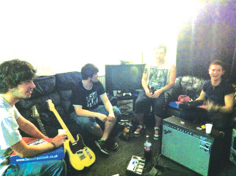A rehearsal session for South Wales band Rise in our Time