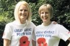 TRAINING PARTNERS: Ceri Crewe, left, intelligence development officer in Pontypool, and Police Sergeant Angela Jones, of Bettws police station, who have teamed up to train for the Great Gwent Poppy Run
