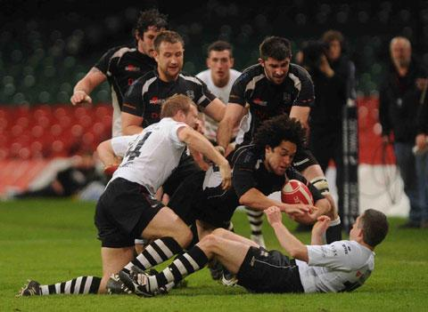 WE MEET AGAIN: Leon Andrews goes on the charge in Cross Keys' Swalec Cup win against Pontypridd