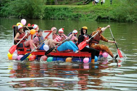 One of the competing rafts in the Monmouth race