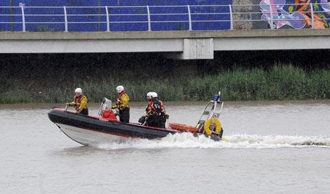 Fire crews attend an rescue on the River Usk at Newport earlier this week