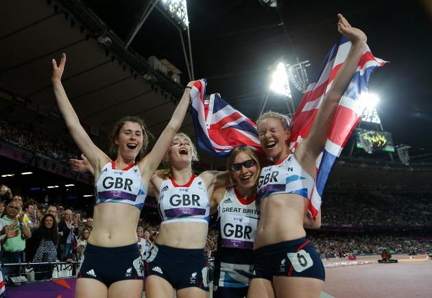 Great Britain's (left to right) Olivia Breen, Jenny McLoughlin, Katrina Hart and Bethany Woodward celebrate their third place in the women's 4 x 100m relay T35-38 at the Olympic stadium, London