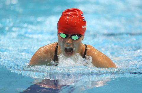 GUTSY: Newport's Liz Johnson on her way to a bronze medal tonight
