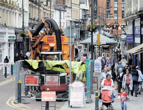 BEHIND SCHEDULE: Gas works in High Street, Newport, will not now be completed until just before Christmas