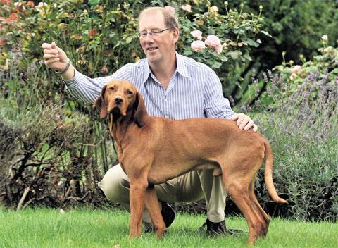 TOP DOG: Maltby, a Hungarian Vizsia, was named international show champion at a competition in Germany. He is pictured with owner John Herbert, of Abergavenny