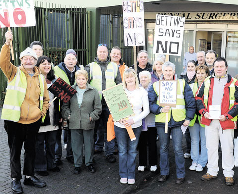 ANGER: Residents in Bettws let their feelings known against proposed gipsy sites in their area