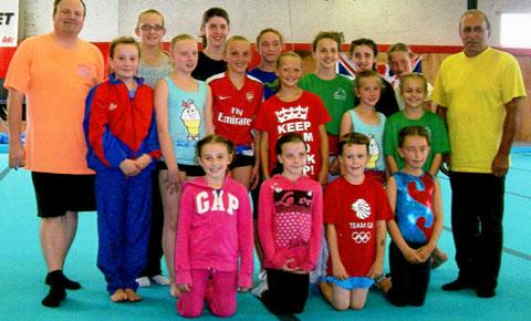 DAY TO REMEMBER: Members of Cwmcarn Gymnastics Club who took part in a special training day