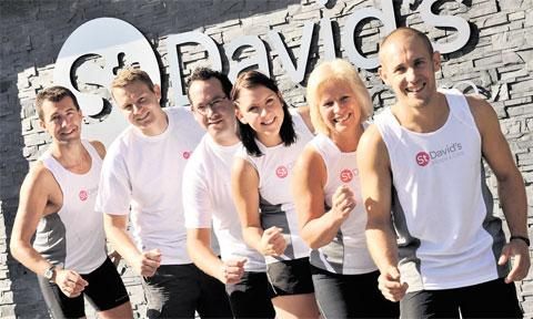 READY TO RUN: Preparing for the half-marathon are, from left, Justin Pocknell, Kris Broome, Andrew Harley, Hayley Pierce, Christine Vorries and Ray Morgan