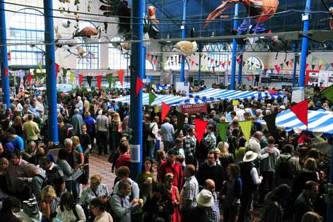 Crowds gather in the Market Hall