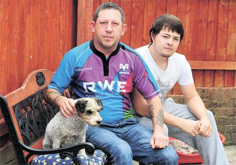 FINED: Craig Harper with his father Andrew Mumford and Lucy the dog
