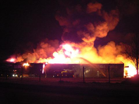 Reader Alan Archer sent in this picture of the blaze at the Crumlin factory this morning