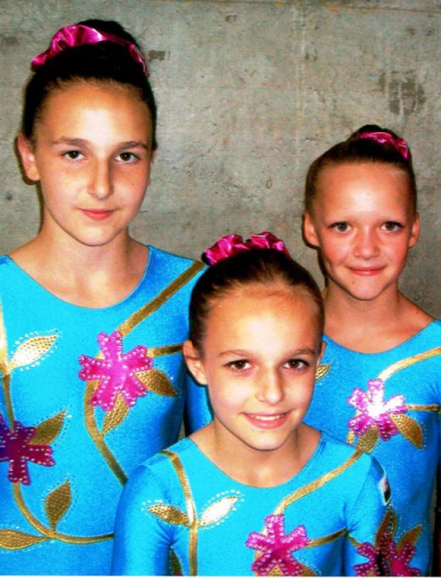 GREAT PERFORMANCE: Cwmcarn Gymnastics members Kira Sparkes, Olivia Hillman and Allana Sparkes