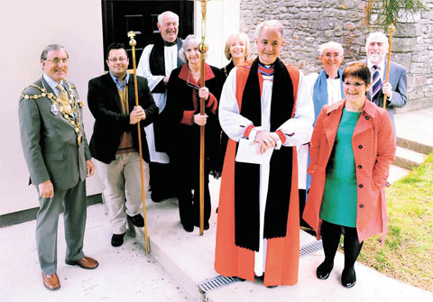 CELEBRATION: Bishop of Monmouth Dominic Walker, the Reverend Canon Henry Davies and the mayor and mayoress of Newport John and Joyce Guy with other VIPs who attended the ceremony to dedicate the new church hall at St David's Church, Bettws
