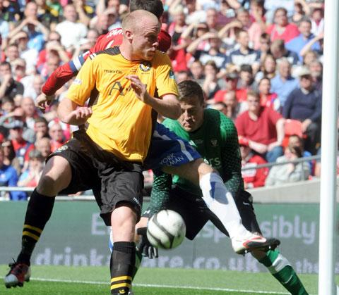 BACK IN ACTION: Newport County AFC midfielder Lee Minshull, seen here in May's FA Trophy final at Wembley.