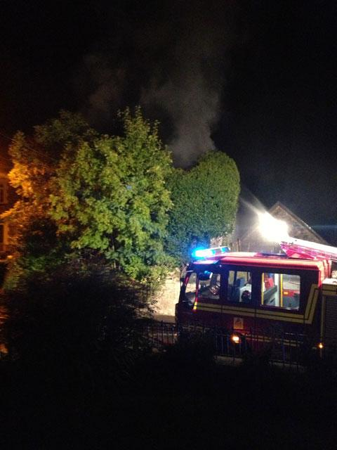 BLAZE: Firecrews at the scene Hardwick Avenue, Chepstow this morning. PIC: Helen Child Villiers