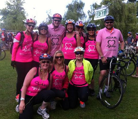 PINK PEDAL-PUSHERS: Members of team Alana who completed the London to Brighton bike ride were Alana's mum Paula New, Andrea Young, Sophie, Louise and Jason Asser, Rachael Kilbey, Hannah Thornton and Ali and Adam Akhurst