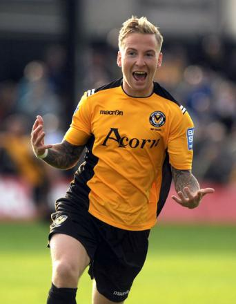 JOY: Ben Swallow celebrates his winning goal against Southport