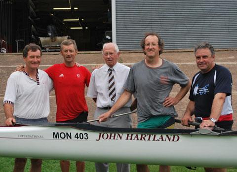 REUNION: The undefeated Monmouth Rowing Club four of 1979, from left, Jim Kelly, Robin Williams (Olympic gold medal-winning