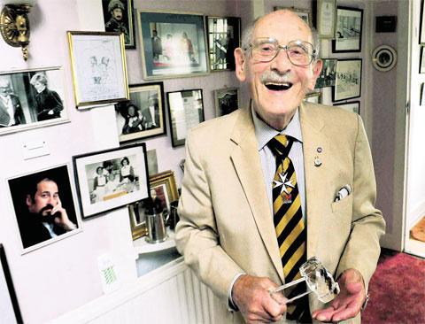 LADIES AND GENTLEMEN: Harry Poloway, toastmaster for more than sixty years, looks back on his extraordinary life