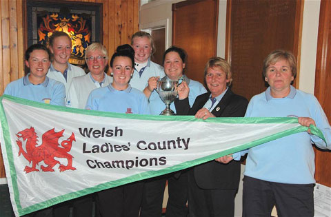 MOMENT TO SAVOUR: The Monmouthshire team that won the Welsh Ladies' County Final.  Pictured from left to right are: Cerys Jenkins, Rhiannon Thomas, Chris Harries, Jessica Evans, Angharad Evans, Lauren Hillier, Ann Booth (captain) and Patricia Fernon