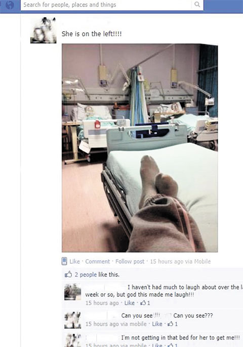 Facebook photos mock pensioners in their beds at Abergavenny hospital
